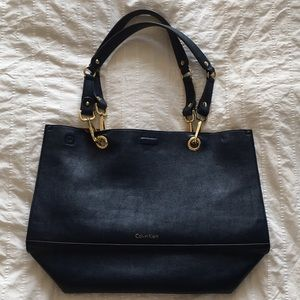 Calvin Klein Sonoma Reversible Navy and Camel Tote